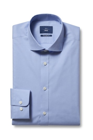 Moss 1851 Tailored Fit Sky Single Cuff Stretch Shirt