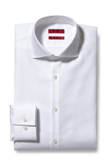 Slim Fit White Herringbone Kason Shirt