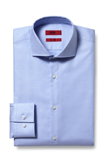 Slim Fit Sky Herringbone Kason Shirt