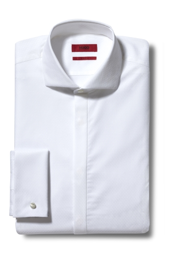 HUGO by Hugo Boss Katthew White Textured Katthew Dress Shirt