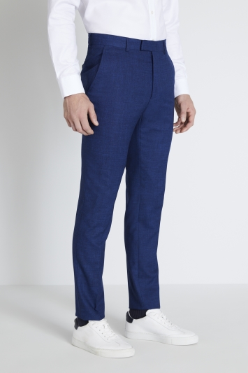 Moss London Slim Fit Blue Slub Trousers