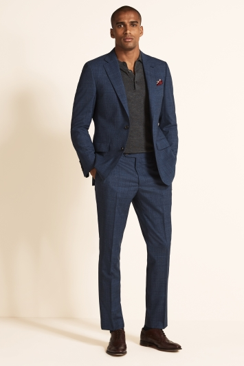 Ermenegildo Zegna Cloth Tailored Fit Blue Prince of Wales Check Jacket