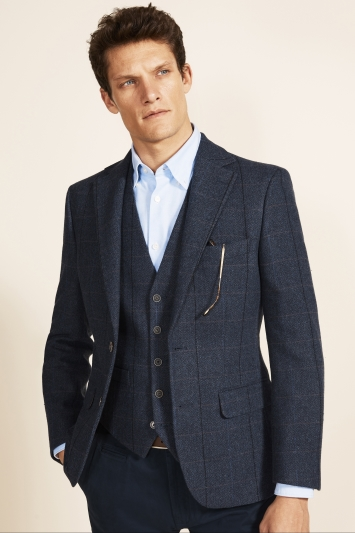 Moss 1851 Tailored Fit Blue Herringbone Check Jacket