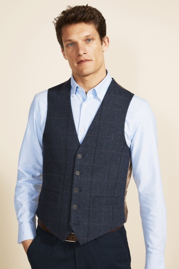 Moss 1851 Tailored Fit Blue Herringbone Check Waistcoat