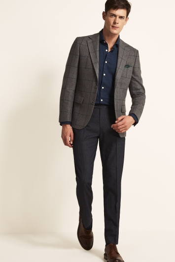 Moss 1851 Tailored Fit Grey Multi Check Jacket
