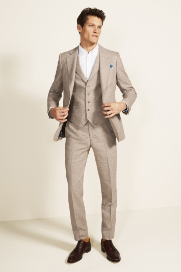 Moss 1851 Tailored Fit Oatmeal Herringbone Tweed Jacket
