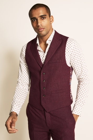 Moss London Slim Fit Raspberry Herringbone Tweed Waistcoat