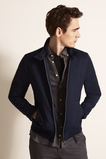 Moss 1851 Tailored Fit Mid Blue Blouson Jacket