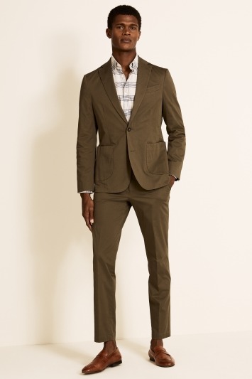 Moss 1851 Tailored Fit Organic Cotton Khaki Jacket