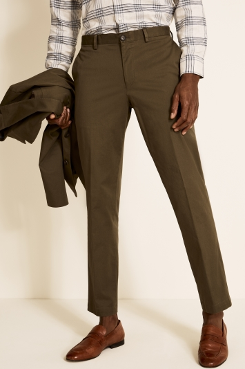 Moss 1851 Tailored Fit Organic Cotton Khaki Trousers