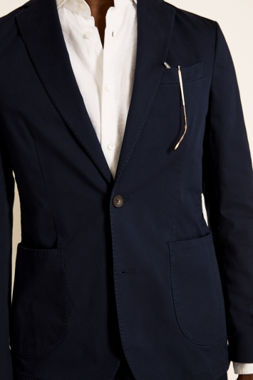 Moss 1851 Tailored Fit Organic Cotton Navy Jacket