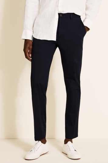 Moss 1851 Tailored Fit Organic Cotton Navy Trousers