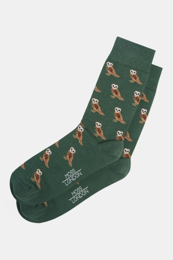 Moss London Green Owl Socks