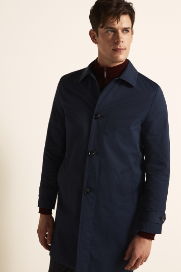Moss 1851 Tailored Fit Navy Raincoat