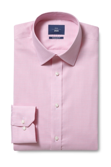 Moss 1851 Regular Fit Pink Single Cuff Puppytooth Shirt