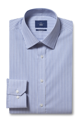 Moss 1851 Regular Fit Blue Single Cuff Stripe Shirt