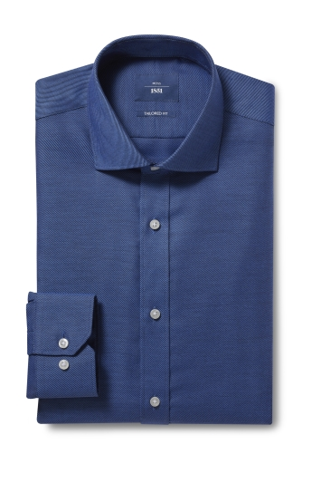 Moss 1851 Tailored Fit Navy Single Cuff Twill Non Iron Shirt