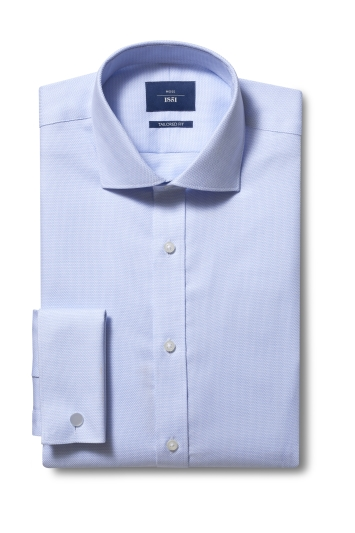 Moss 1851 Tailored Fit Sky Double Cuff Sky Dobby Non Iron Shirt