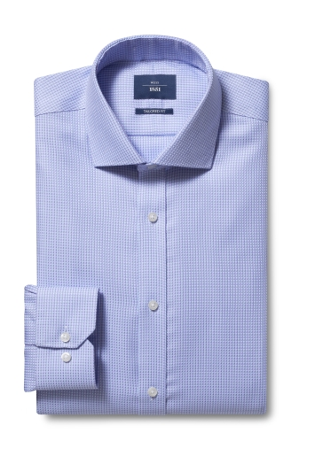 Moss 1851 Tailored Fit Lilac Single Cuff Dobby Non Iron Shirt