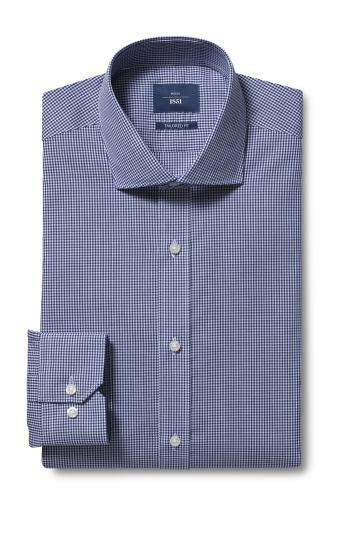 Moss 1851 Tailored Fit Navy Single Cuff Gingham Check Shirt