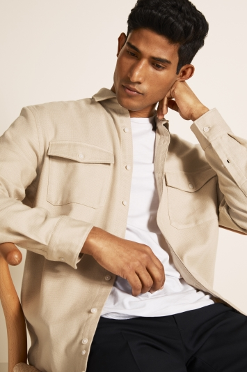 Moss London Slim Fit Stone Single Cuff Overshirt