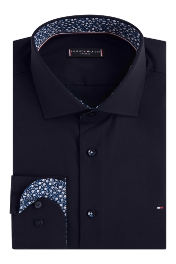 Tommy Hilfiger Slim Fit Navy Single Cuff Poplin Shirt