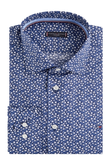 Tommy Hilfiger Slim Fit Blue Single Cuff Floral Shirt