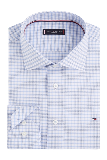 Tommy Hilfiger Slim Fit Blue Single Cuff Twill Check Shirt