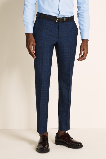 Moss London Slim Fit Bright Blue Check Trouser
