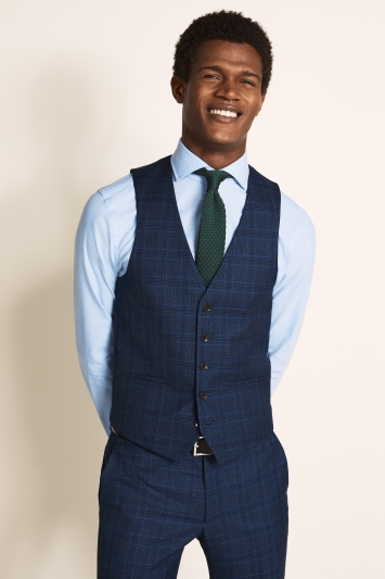 Moss London Slim Fit Bright Blue Check Waistcoat