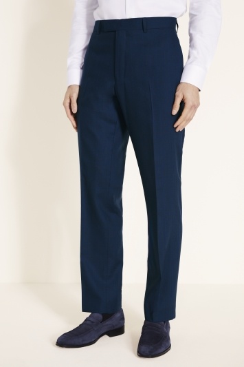 Savoy Taylors Guild Regular Fit Navy with Burgundy Check Trousers