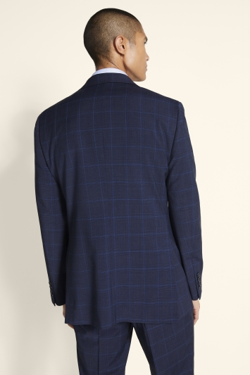 Moss 1851 Tailored Fit Blue Check Supreme Stretch Jacket