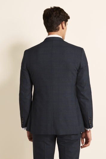 Moss 1851 Tailored Fit Slate Blue with Gold Check Jacket