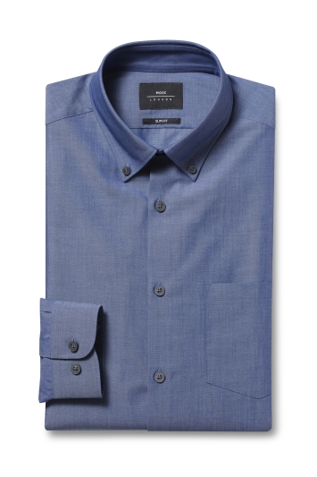 Moss London Slim Fit Blue Single Cuff Button Down Chambray Shirt