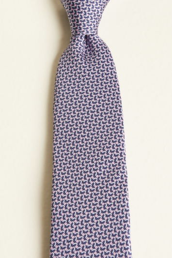 Moss 1851 Pink with Blue Chainlink Print Tie