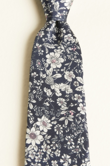 Moss 1851 Navy with Pink & White Flower Print Silk Twill Tie