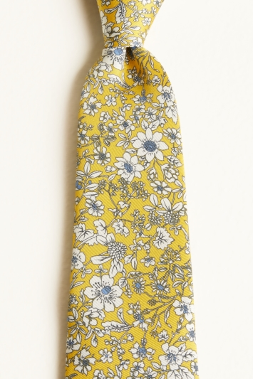 Moss 1851 Mustard with Blue & White Flower Print Silk Twill Tie