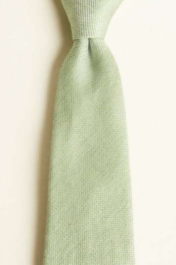 Moss 1851 Grass Green Semi-Plain Silk, Linen & Viscose Tie