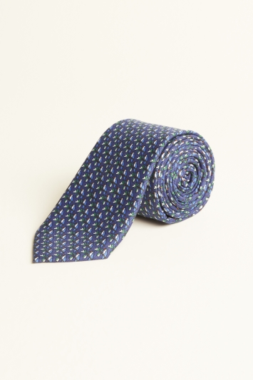 Moss London Navy Parrot Print Tie