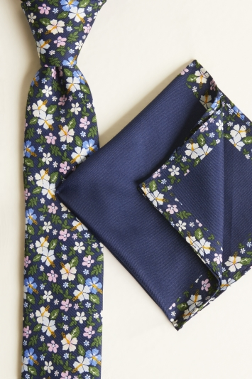 Moss London Navy with White & Pink Flower Print Tie & Pocket Square Set