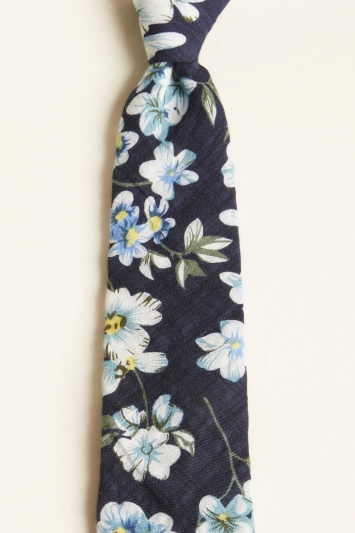 Moss London Navy with White Large Floral Print Cotton Tie