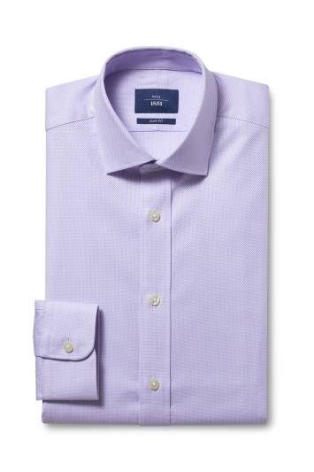 Moss 1851 Slim Fit Lilac Single Cuff Egyptian Cotton Shirt