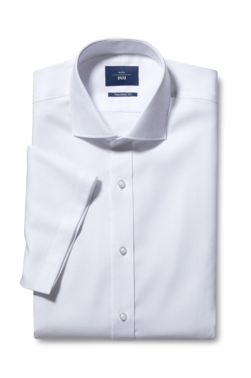 Moss 1851 Tailored Fit White Short Sleeve Twill Non Iron Shirt