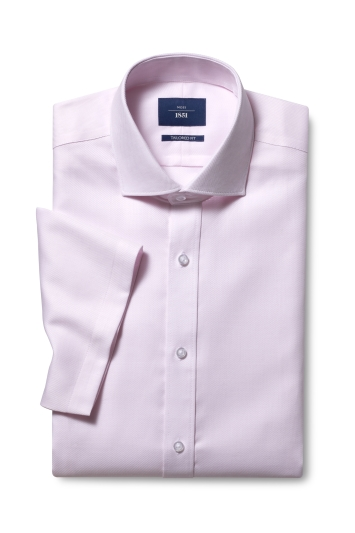 Moss 1851 Tailored Fit Pink Short Sleeve Twill Non Iron Shirt