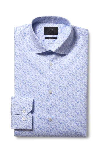 Moss London Slim Fit Sky Single Cuff Floral Print Shirt