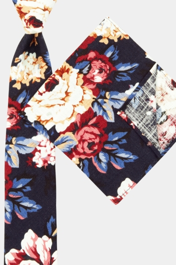 Moss London Navy Floral Tie & Pocket Square Set