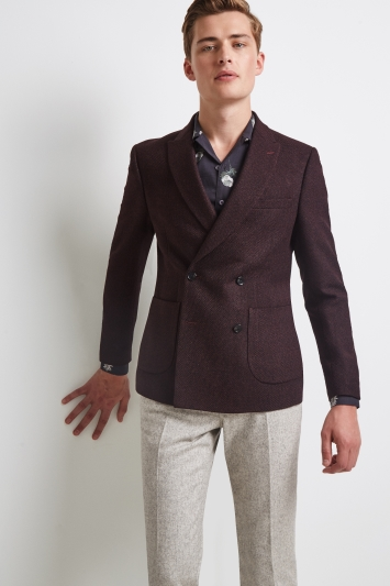 Moss London Skinny Fit Burgundy Knit Double Breasted Jacket