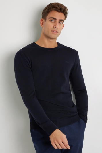 DKNY Navy Merino Wool Crew-Neck Jumper