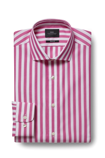 185d57e7c27 Moss London Premium Extra Slim Fit Pink Single Cuff Wide Stripe Shirt