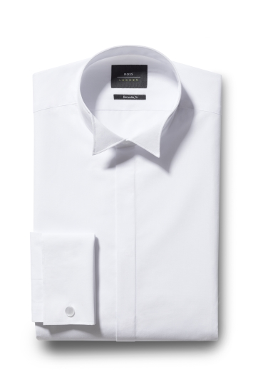 Moss London Extra Slim Fit White Double Cuff Wing Collar Dress Shirt